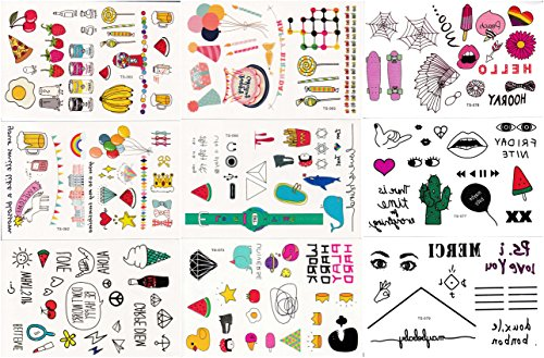 "Price comparison product image Temporary Tattoos for Kids & Woman, 200+ Designs, 9 Sheets, 6""x 4"" (Korea)"