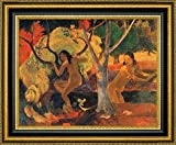 """This 9"""" x 11"""" framed premium canvas print of Bathers in Tahiti by Paul Gauguin is meticulously created on artist grade canvas utilizing ultra-precision print technology and fade-resistant archival inks.Every detail of the artwork is reproduced to mu..."""