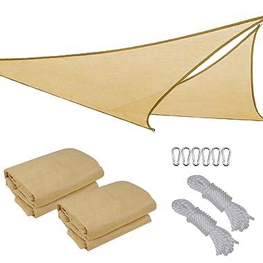 2X 16.5' Triangle Sun Shade Sail Patio Deck Beach Garden Yard Outdoor Canopy Cover UV Blocking (Desert Sand)