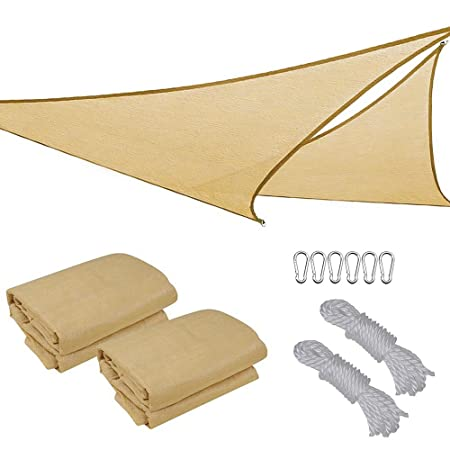 2X 16.5 Triangle Sun Shade Sail Patio Deck Beach Garden Yard Outdoor Canopy Cover UV Blocking Desert Sand