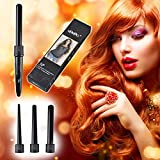3-in-1 Hair Curler Ceramic Tourmaline Hair Curling Iron Wand Kit, Black