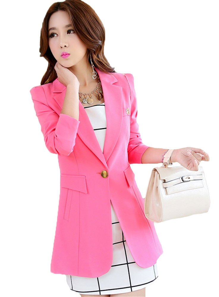 My Wonderful World Women's Candy Color Boyfriend Casual Work Suit Large Pink