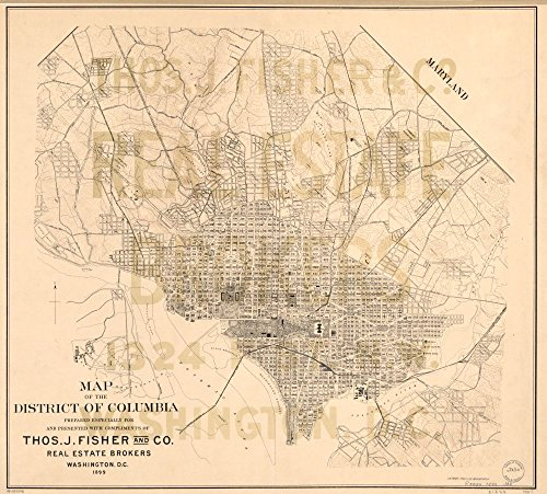 Vintage 1899 Map of the District of Columbia - Shows major b