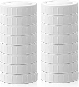 Plastic Mason Jar Lids Regular Mouth Compatible with Ball Kerr,Food Grade,with Silicone Ring Ensure Airtight,White,16 Packs