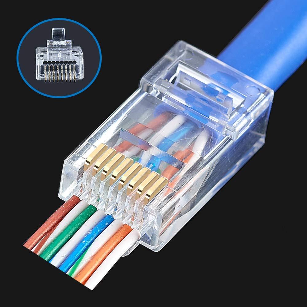 amazon com: rj45 cat6 pass through connectors ends 100pcs ethernet gold  plated network end plug cable connectors option: 50pcs and 100pcs (15u gold  plated):