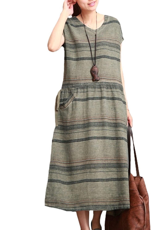 MatchLife Damen Stripe Freizeitkleider Drawstring Kurzarm Kleider