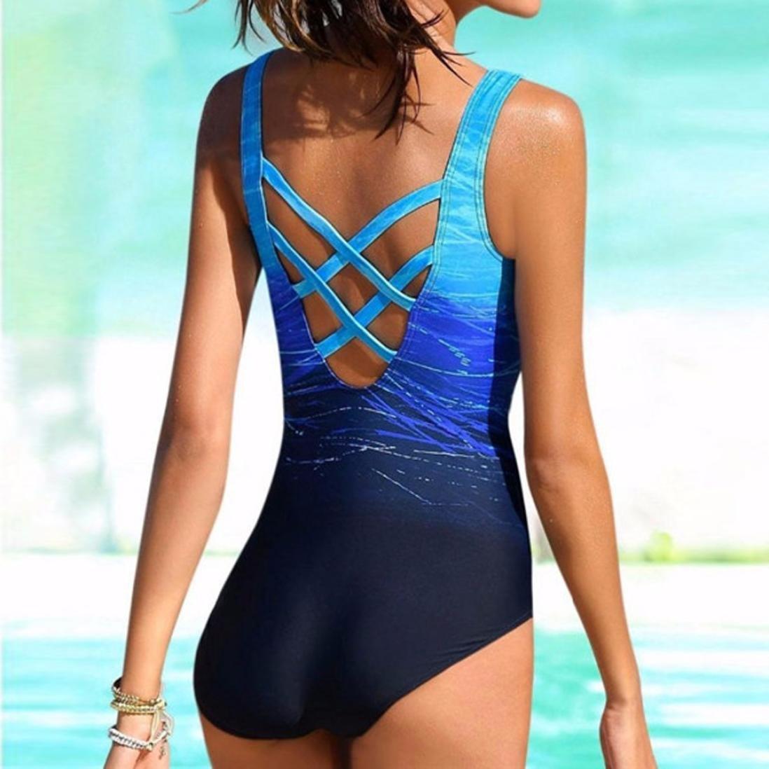PAOLIAN Trajes de una pieza Bikini enteros sexy Mujer Verano 2018 Ropa de Playa Bañador espalda nadador Cruz de Ropa Impreso Gradiente Camisolas y pareos ...