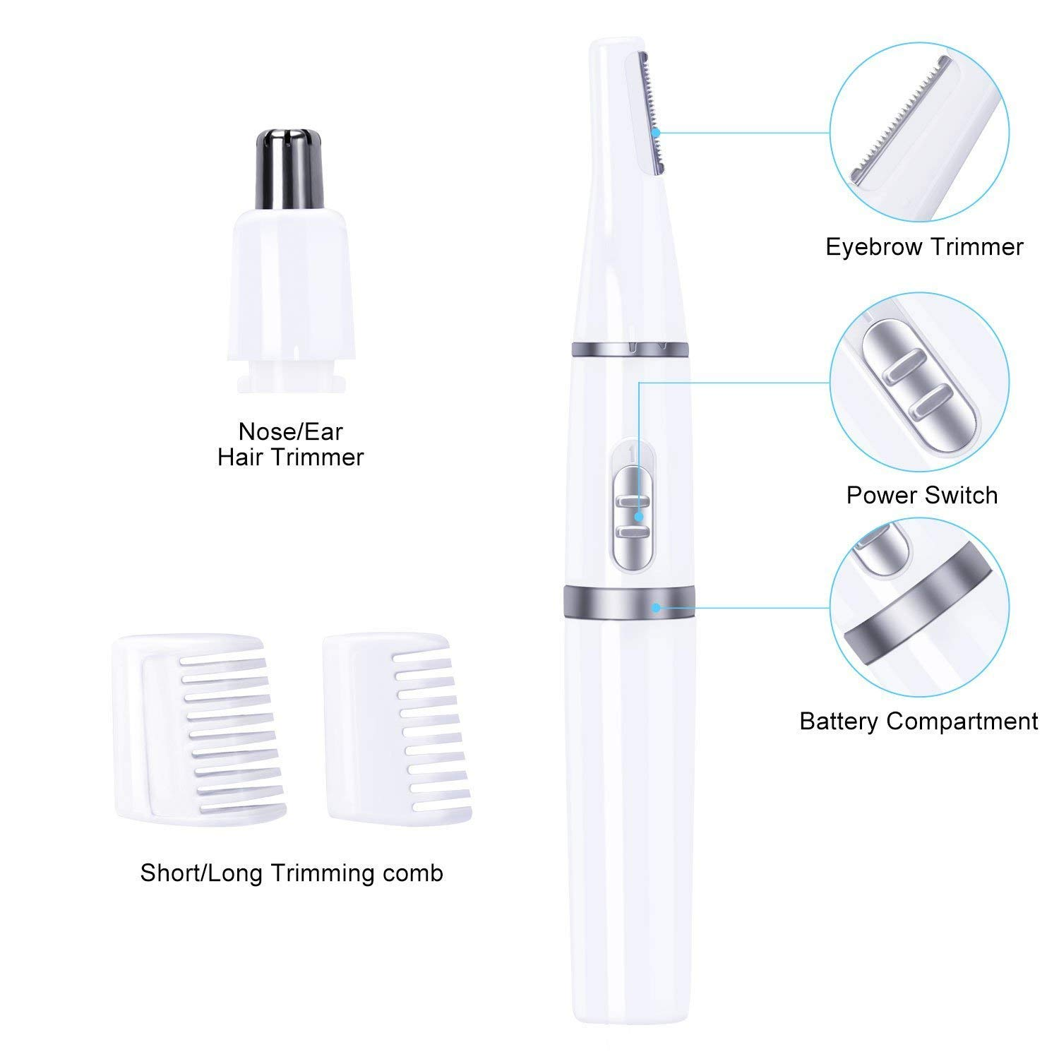 Wishesport Electric Nose Ear Hair Trimmer, Eyebrow Trimmer, 2-in-1 Facial Body Hair Shaver Washable Blades for Men and Women (White)
