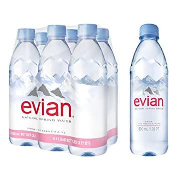 0cfedb6c0e evian Natural Spring Water 500 ml, 16.9 Ounce, 6 Count, Bottled Naturally  Filtered