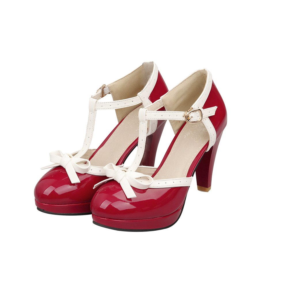 ForeMode Fashion Women T-Strap High Heels Bow Platform Round Toe Pumps Patent Leather Summer Lolita Sweet Shoes(red,6)