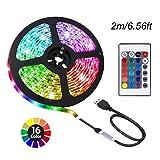 ACONDE 6.56 feet USB LED Strip Lights, DIY Indoor Decoration, TV Backlight, 24 Keys Remote (Color: Multicolor)