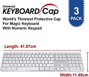 Fully Covered Flat Style 0.025mm Wipeable Superb Tactile Feeling Waterproof Anti-Dust Keyboard Cap Cover for Apple Wireless Magic Keyboard with Numeric Hospital/Dentist Use [3 Pack