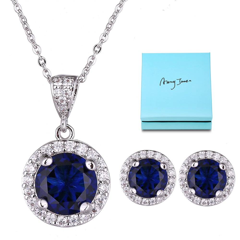 AMYJANE Jewelry Set for Women Blue - Silver Round Cut Crystal Navy Blue Sapphire Rhinestone Necklace Earrings Set September Birthstone Jewelry Pop Style for Girls Party Prom Birthday Gift by AMYJANE (Image #1)