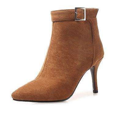 ae5c480f96c7e SHOWHOW Damen Modern Spitz Zehe Ankle Boots Schnalle High Heels  Stiefeletten Braun 33 EU