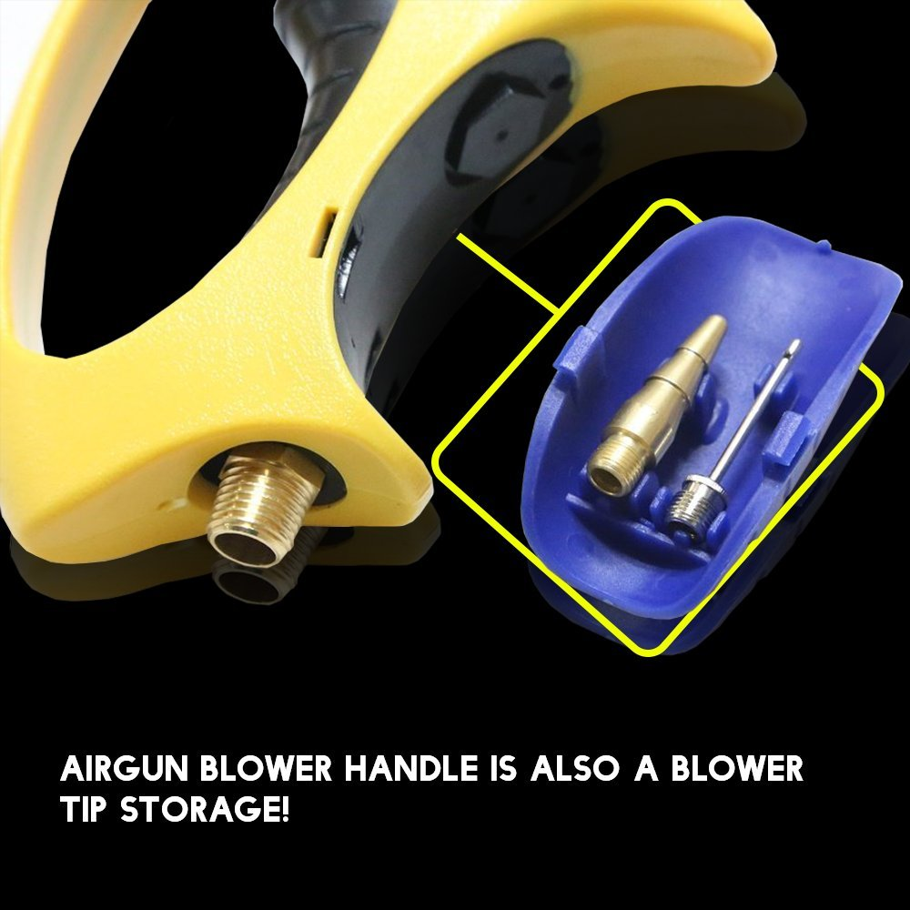 Air Blow Gun Compressed Air Tool Kit with 6 Air Gun Nozzle Tips and Adjustable Trigger for Air Flow Control, Pneumatic LE-FIG11 Compressed Air Tools by Lematec by LE LEMATEC (Image #3)