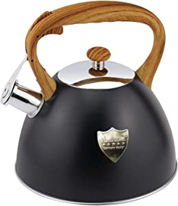 Tea Kettle 3L Stovetop Whistling Teakettle Tea Pot,Food Grade Stainless Steel Teapot Tea Kettles for Stove Top,Cool Wood Pattern Handle,Loud Whistle and Anti-Rust,Suitable for All Heat Source,Black