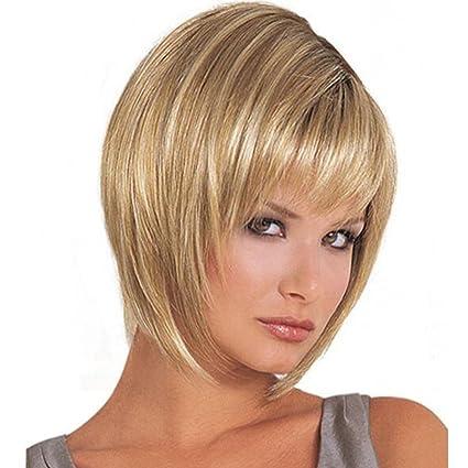 wig Peluca para Mujer, Corta, rizada, Rubia, Resistente al Calor, Flecos