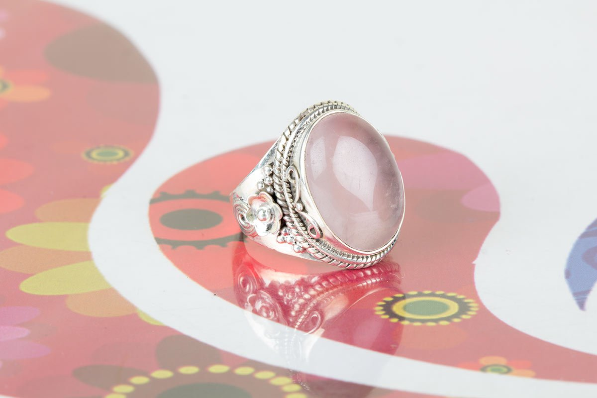 Rose Quartz Ring, Sterling Silver Ring, Attractive Ring, Girls Jewelry, Gypsy Ring, Natural Stone Ring, Bezel Ring, Engagement Ring, Everyday Ring, Love Ring For Her, US All Size.