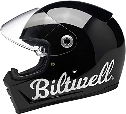 Large Biltwell Lane Splitter Motorcycle Helmet Gloss Black Factory