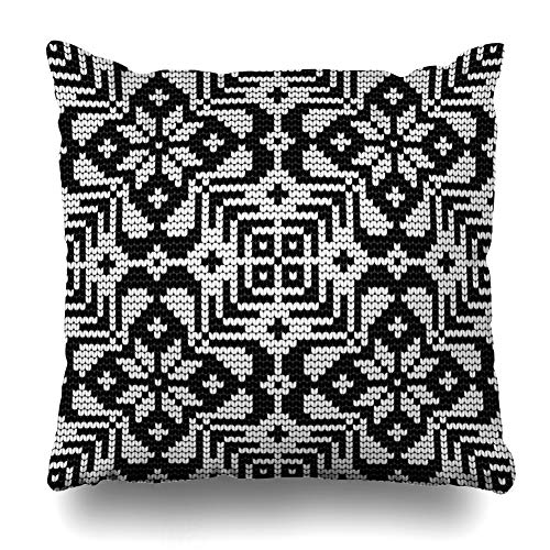 Ahawoso Throw Pillow Cover Baltic Pattern Ugly Sweater Abstract Black Vintage Canvas Christmas Craft Design Icelandic Home Decor Pillowcase Square Size 20 x 20 Inches Zippered Cushion Case