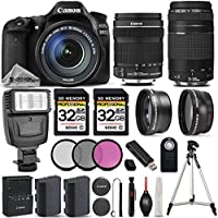 Canon EOS 80D Wi-Fi Full HD 1080P Digital SLR Camera + Canon 18-135mm IS STM Lens + Canon 75-300mm III Lens + Flash. All Original Accessories Included - International Version