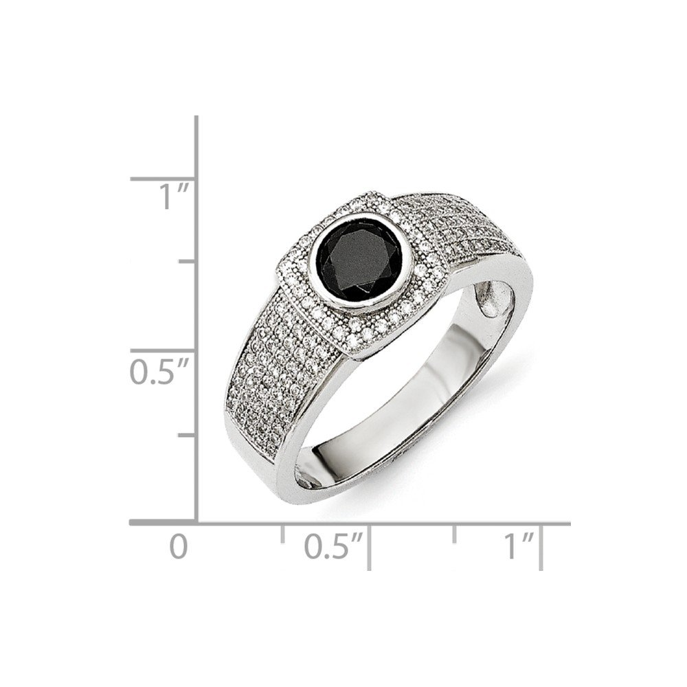 Jewel Tie 925 Sterling Silver CZ Cubic Zirconia /& Black Simulated Spinel Mens Ring