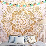 Golden Bohemian Mandala Tapestry with NO-Fading Digital Printing Clear Patterns, Multiple Uses - Wall Hanging Art for Dorm D¨¦cor,82 X 59 inches