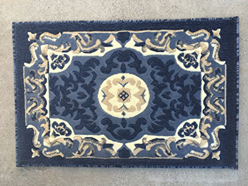 Traditional Door Mat Area Rug Blue Design 101 (2ft.x3ft.) (Contemporary Door Designs)