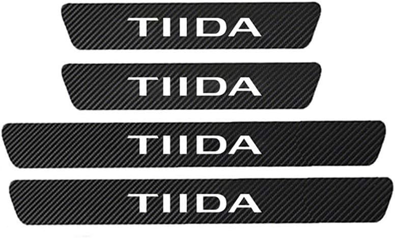 XIAOSHI Coche Fibra Carbono Decoraci/ón Estribos Pegatinas para Nissan Tiida C11 C12 Umbral Puerta Anti Ara/ñazos Accesorios 4 Piezas