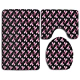 Breast Cancer Pink Ribbon 3-Piece Soft Bath Rug Set Includes Bathroom Mat Contour Rug Lid Toilet Cover Home Decorative Doormat