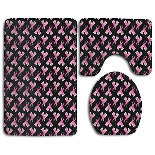 Breast Cancer Pink Ribbon 3-Piece Soft Bath Rug Set Includes Bathroom Mat Contour Rug Lid Toilet Cover Home Decorative Doormat by Princekling