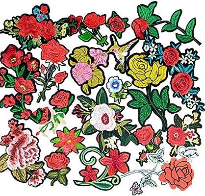 Dandan DIY 20pcs Random Assorted Styles Kid Sew On//Iron On Patch Applique Clothes Dress Plant Hat Jeans Sewing Flowers Applique Diy Accessory