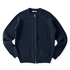Sloane Wool Rib Full-Zip Crewneck Sweater SL2W-015: Navy
