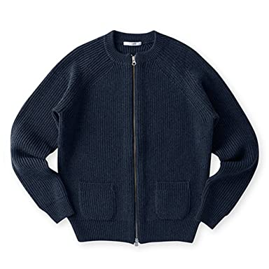 Sloane Wool Rib Full-Zip Crewneck Sweater: Navy
