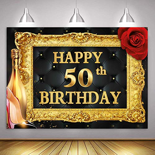 Golden 50th Birthday Happy Background for Photography MME 10x7Ft Red Rose Golden Champagne Continental Photo Frame Background Photo Booth Studio Props LSME750 ()
