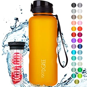 "720°DGREE Water Bottle""uberBottle"" +Fruit Infuser - 1.5L - BPA-Free, Leakproof, Reusable - Large Tritan Bottle for Sports, Fitness, Outdoor, Hiking, Travel - Lightweight, Unbreakable, Sustainable"