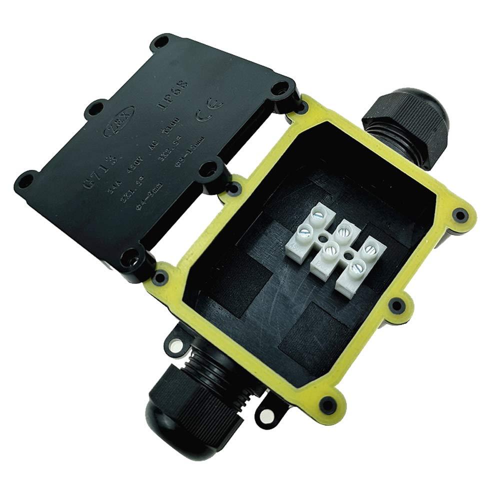 Plastique Noir IP68 étanche 2 voies Électrique Boîtier De Jonction Avec Terminal