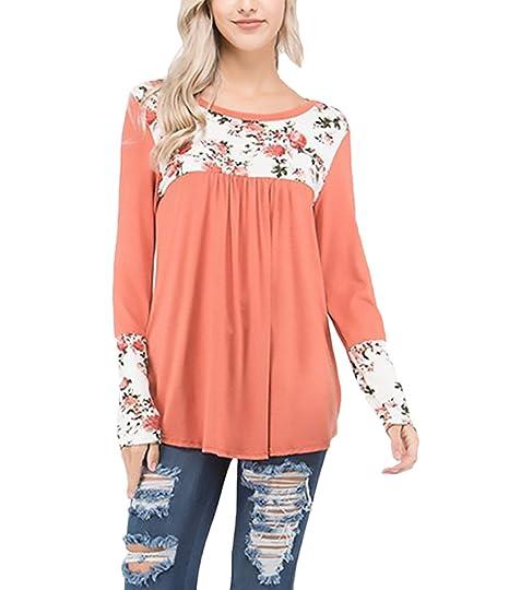 Mujer Camisetas Manga Larga Tops Elegantes Clásico Especial Flores Estampadas Basicas Anchas Camisas Cuello Redondo T
