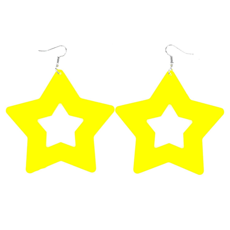 Fashion Neon Color Star Earrings for Women Girls Lightweight Drop Acrylic 80s Party Earrings