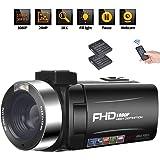 ビデオカメラ 3インチIPSパネル 32GBカード対応 1080P 30FPS 24MP バッテリー*2 18倍デジタルズーム デジタルビデオカメラ カムコーダー ブログカメラ