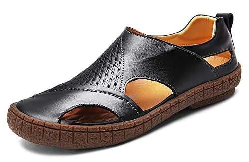 Odema Mens Summer Leather Size Plus Closed Toe Slip On Loafers Sandals Black