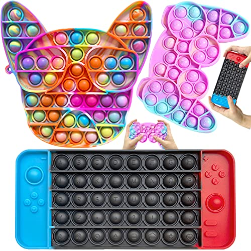 GNZREAI 3PCS Pop Fidget It Toy Pack, Push Popop Gamepad Tie Dye Game Board Pack Cheap, Cool Dog Push Bubble Fidget Sensory Toy Stress Reliever for Kids Adults Great Gift for Student Reward Party