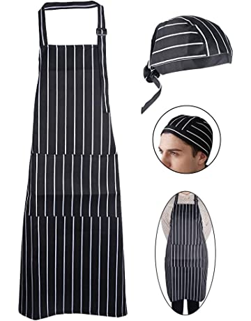 JNCH Kit Delantal de Cocina + Gorro de Cocina Delantal Babero Delantal Largo con Bolsillo Negro