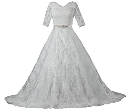 ANTS Women\'s Modest Half Sleeve Ball Gown Lace Wedding Dresses Bride ...