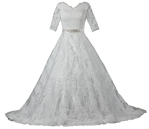 ANTS Womens Modest Half Sleeve Ball Gown Lace Wedding Dresses For Bride Size 2 US Ivory