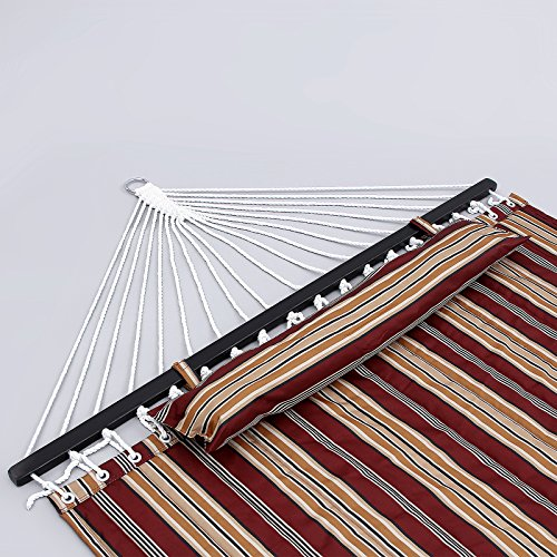 SONGMICS Quilted Fabric Hammock Double Size with Detachable Pillow Wooden Spreader Bar Heavy Duty UGDC34R