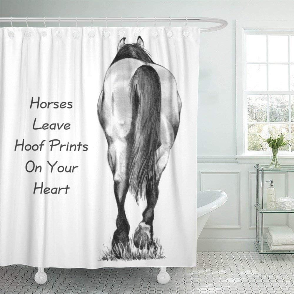 JOOCAR Cortina de ducha de diseño, diseño de caballo, dibujo a lápiz, este de la parte posterior se acompaña de caballos de palabra, tela impermeable para decoración de baño con ganchos