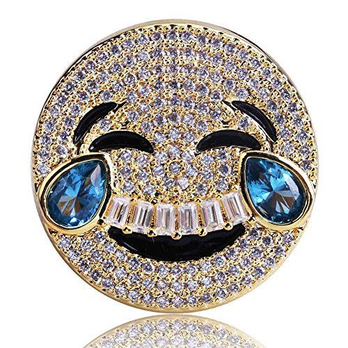 SHINY.U 14K Gold Plated Iced Out CZ Simulated Diamond Sapphire Crying and Face with Tears of Joy Emoji Ring for Men Fashion Jewelry Gifts (Gold face with tears of Joy, 7)