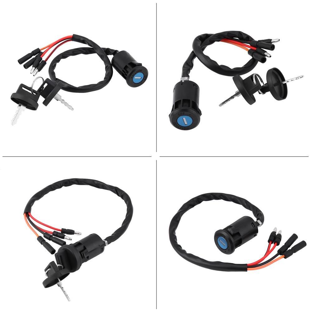 KIMISS Cl/é dallumage Interrupteur Cl/é et Bouton Interrupteur Principal Cl/é M/étal et Plastique Noir Convient pour 300 TRX300FW FOURTRAX 1900-2000 ATV