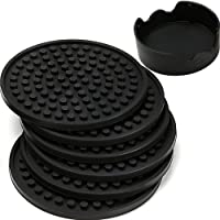 ENKORE Coasters for Drinks - Set of 6 with Holder, Black - Protect Furniture from Water Marks or Damage - Deep Tray and…